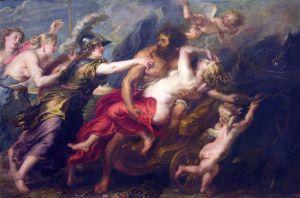 En la imagen se puede ver a Perséfone desmayada en los brazos de Hades, mientras varios miembros de las milicias bolivarianas los acosan con toallas higiénicas reutilizables.