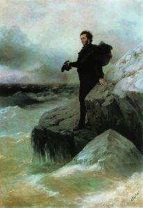 Pushkin, el amante de la amante de Chiriboga, observando las turbulentas y poéticas aguas del lago artificial del parque de La Alameda.