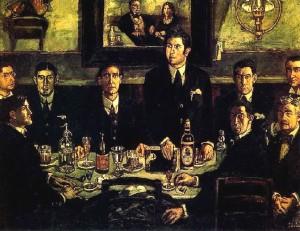 Pintura de Solana que nos muestra a Ramón y a sus contertulios en el Café Pombo (todos bebían agua).