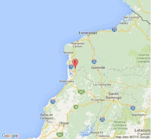 El epicentro del terremoto de Ecuador
